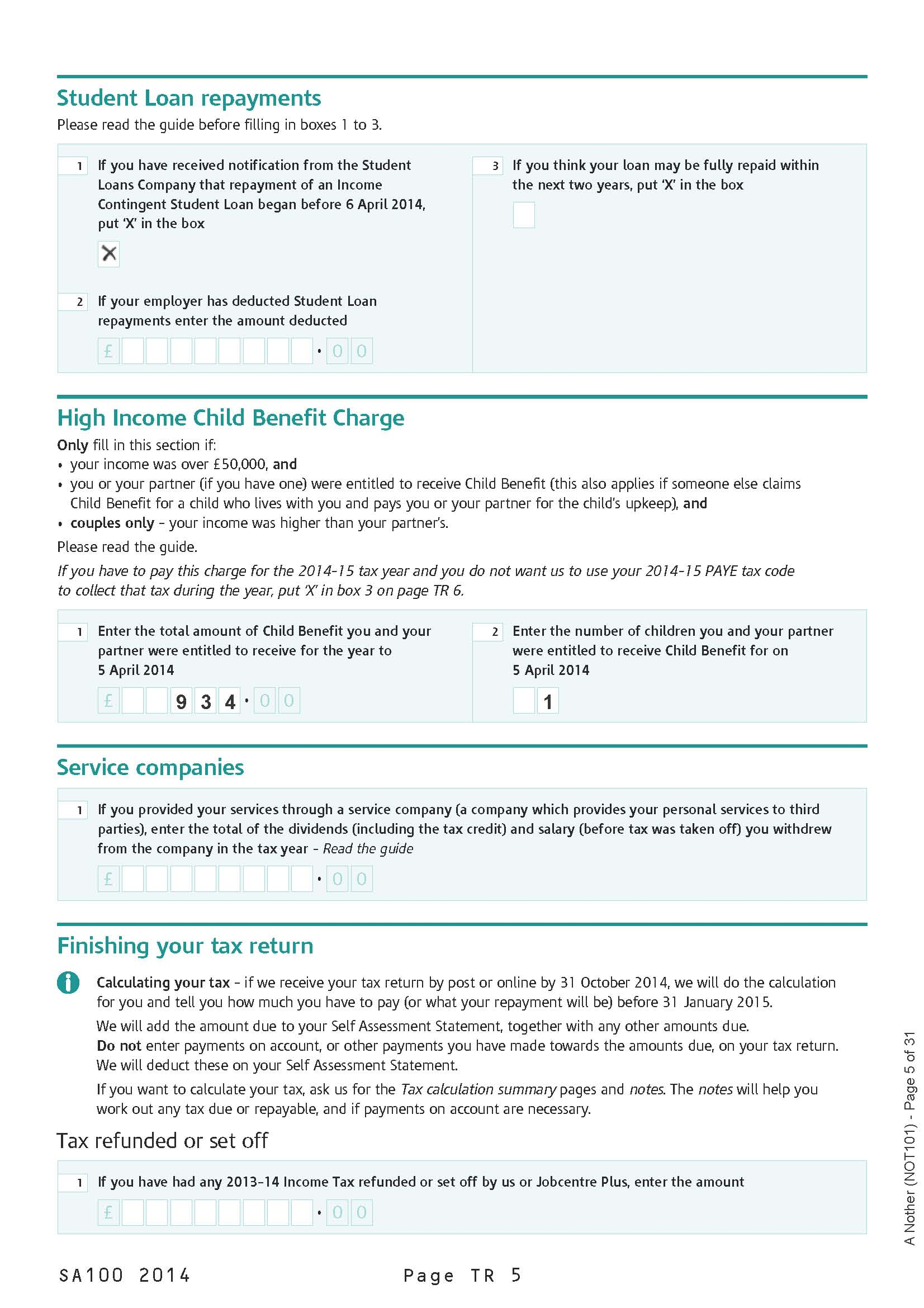 self assessment paper tax return